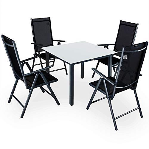 CASARIA Conjunto de 1 Mesa y 4 sillas de Aluminio Bern Respaldo reclinable Antracita Muebles de jardín terraza