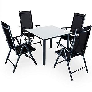 Casaria Sitzgruppe Bern 4+1 Aluminium 7-Fach verstellbare Stühle Hochlehner Gartentisch Milchglas Gartenmöbel Anthrazit