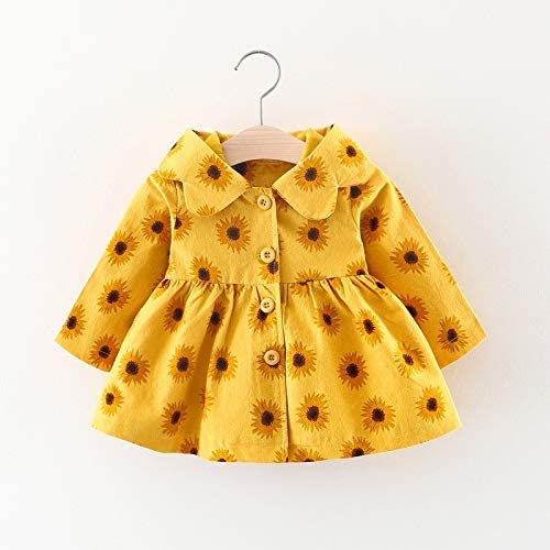 Kids Clothing Spring and Autumn Girl Sunflower Print Pattern Long Sleeve Hooded Jacket, Height:100cm(Pink) Boys Clothing