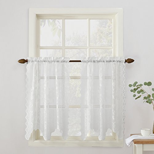 """No. 918 48932 Alison Sheer Lace Elongated Kitchen Curtain Tier Pair, 58"""" x 36"""", White"""