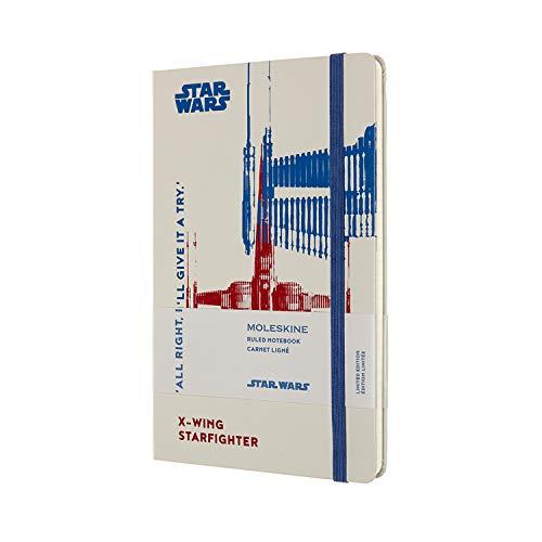 Moleskine, Cuaderno Star Wars X-Wing, Edición Limitada, Hojas de Rayas, Tapa Dura con Gráficos, Tamaño Grande 13 x 21 cm, Color Blanco, 240 Páginas