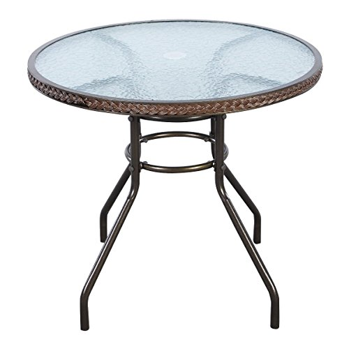 TANGKULA 32' Patio Table Outdoor Round Wicker Covered Edge with Tempered Glass Top and Umbrella Insert Coffee Dining Tabel Patio Furniture for Lawn Garden Pool Steel Frame Commercial Party Table