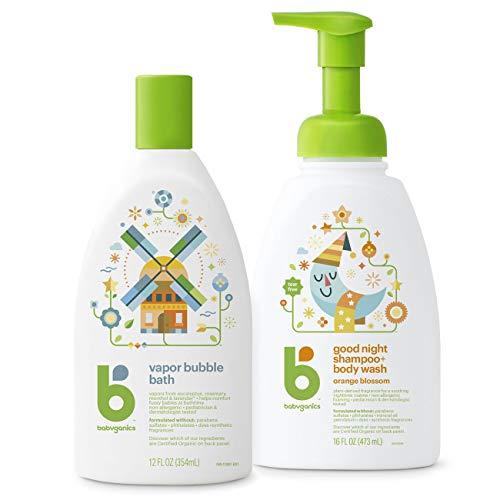 Babyganics Night Time Bubble Bath + 2-in-1 Shampoo and Body Wash, 2 Items