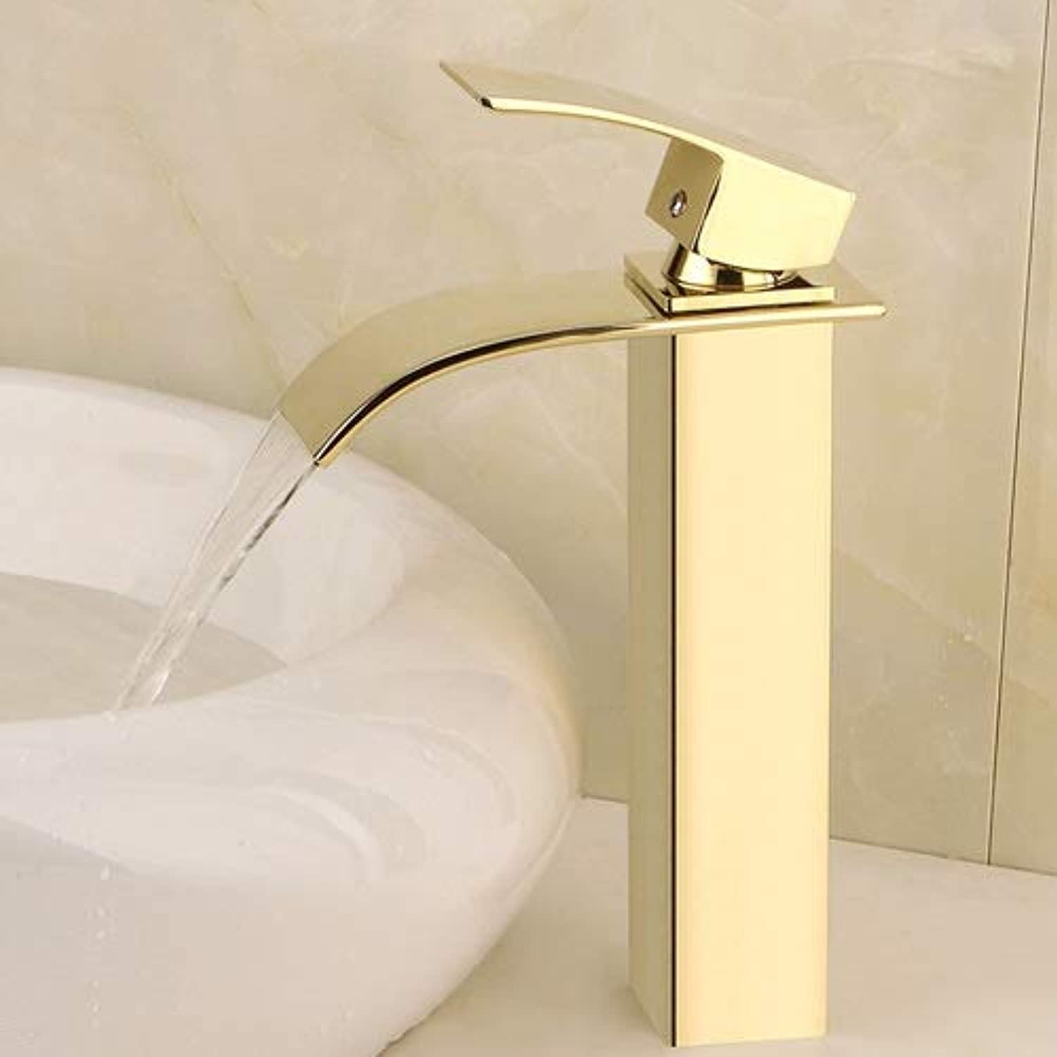 Vinteen All Bronze Hot And Cold Waterfall Basin Faucet Water-tap gold Plating Waterfall Quartet Single Hole Wash Basin Atmosphere Faucet (Size   High)