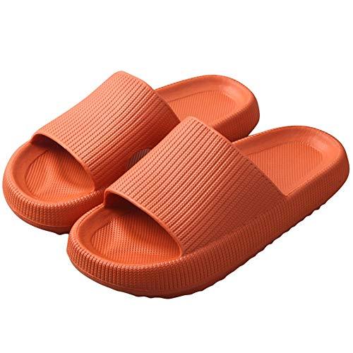 Balamii Pillow Slides for Women,Bathroom Shower Sandals,Eva Non-Slip Open Toe Soft Slippers,Unisex Thick Sole, Open Toe, Quick Dry Shower Slippers Home Slippers Beach Shoes 38-39 Orange
