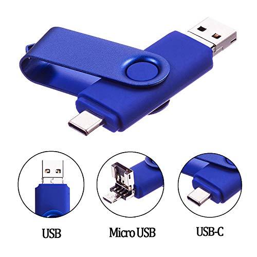 Cle USB 64 Go Type C Micro USB et USB 2.0 OTG 3 en 1 Pivotant Mémoire Stick Flash Drive U Disque Pliable Clé USB Originale pour Android Smartphone PC Tablette (64Go, Bleu)