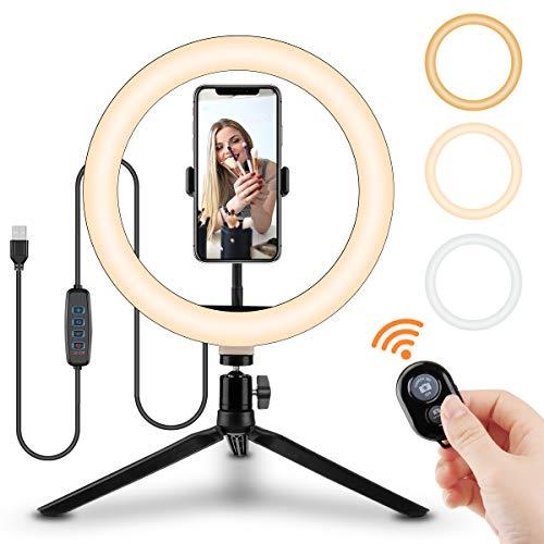 tronisky Selfie Ringlicht, 10' LED Ringleuchte mit Stativ und Handyhalter, 3 Lichtmodi & 10 Helligkeitsstufen, Tischringlicht für Make-up, Live-Stream,...