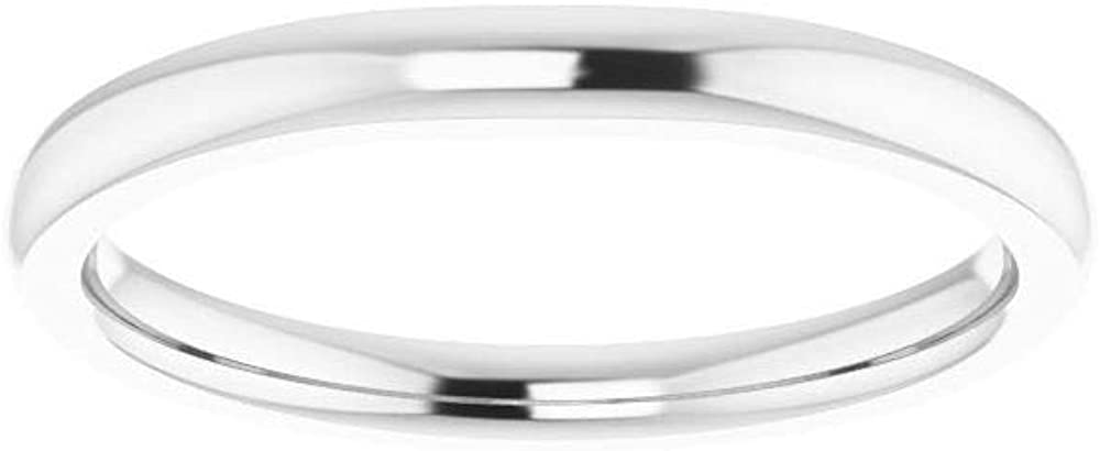 Solid 14k White Gold Matching Curved Notched Wedding Band for 6x4mm Oval Ring Guard Enhancer - Size 7