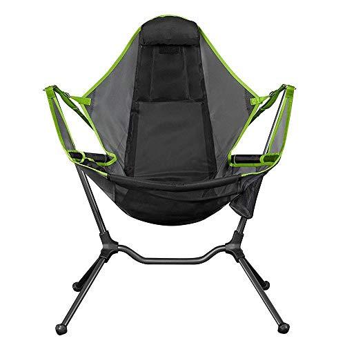 EQVUDJT Tragbar Faltbare Außenstuhlgarten Swing Chair Beach Mondstuhl mit Kissen Für Camping Angeln Ultraleicht Tragbare Stuhl Für Outdoor-Aktivitäten (Color : Outdoor Chair Green)
