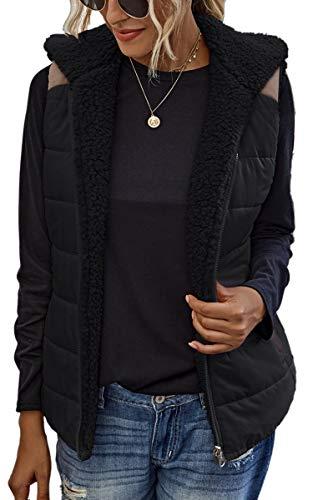 Spec4Y Weste Damen Stehkragen Ärmellos Reißverschluss Jacke Warm Sherpa Fleece Leichte Mantel mit Taschen 2082 Schwarz X-Large
