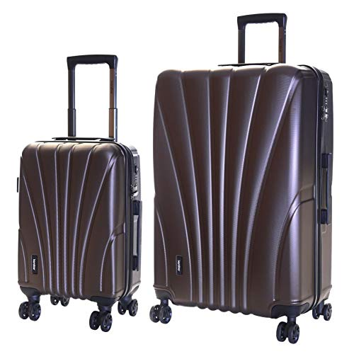 Karabar Set of 2 Hard Shell Luggage Bags Suitcases Cabin Carry-on and Extra Large 4 Spinner Wheels TSA Number Lock, Seashell Brown