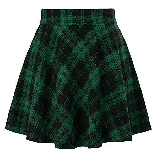 Kate Kasin Women Buffalo Plaid Skirt A-Line Mini High Waist Flared Skater Skirt Green Small