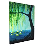 YeapLife Canvas Wall Art Weeping Willow Tree Modren Painting Art For Home/Living Room/Office Room/ Library Frame Art Wall Decor Ready To Hang Painting 12x16 In