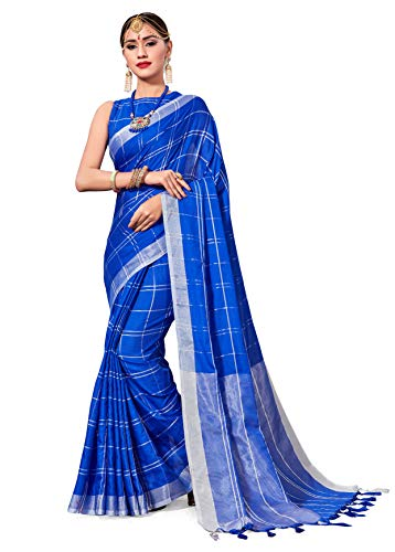 Elina fashion Saree for Women Cotton Art Silk Sarees for Indian Wedding Gift, Sari and Unstitched Blouse Piece (Blue-2)