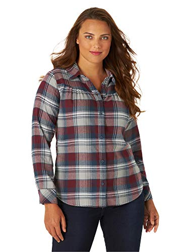 Riders by Lee Indigo Damen Long Sleeve Semi-Fitted Flannel Shirt Button Down Hemd,...