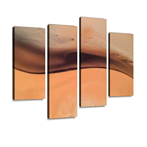 Stunning Wide Angle Aerial Drone of a Beautiful S Shaped red Sand Dune Canvas Wall Art Hanging Paintings Modern Artwork Abstract Picture Prints Home Decoration Gift Unique Designed Framed 4 Panel