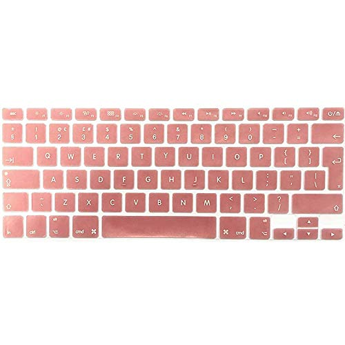 FINDING CASE EU/UK Keyboard Cover Compatible Older Apple Macbook 13 inch A1369/ A1466 (Release 2010-2017) - Waterproof Adhesive Protective Silicone Skin Rose gold