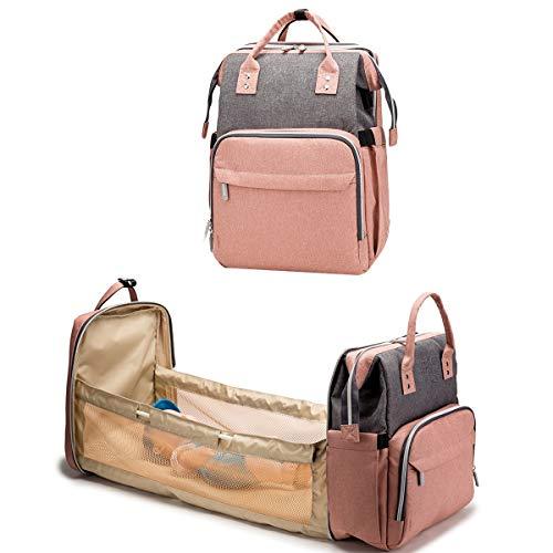 DaMohony 3 en 1 cama plegable para bebé, bolsa de pañales grande, cambiador de pañales, bolsa de pañales portátil para bebé recién nacido