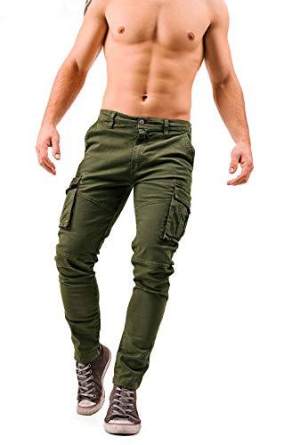 Instinct Pantaloni Cargo Uomo con Tasche Laterali Tasconi Zip Slim Fit W7 (42, Verde F001)