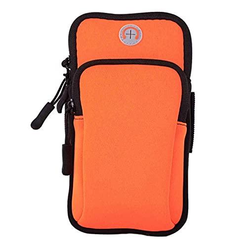 DealMux - Bolsa de muñeca para teléfono deportivo, portátil, para correr, al aire libre, para teléfono, bolsa para caminar, senderismo, sala de ejercicios, naranja