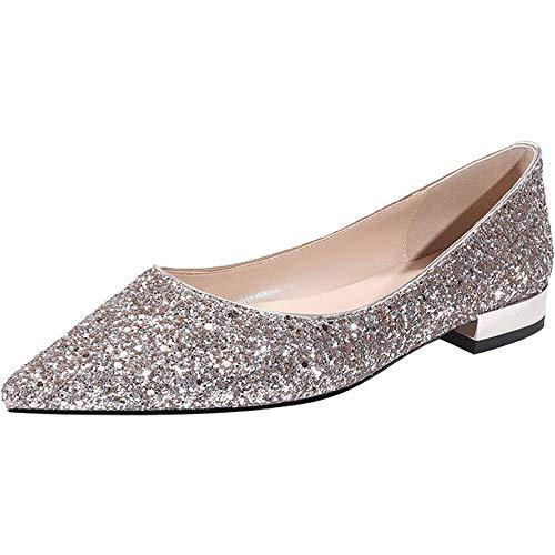 Glitzern Hochzeitsschuhe Damen Pumps Sexy Damen High Heels Fashion Party Damen Schuhe Crude Heel flach,34