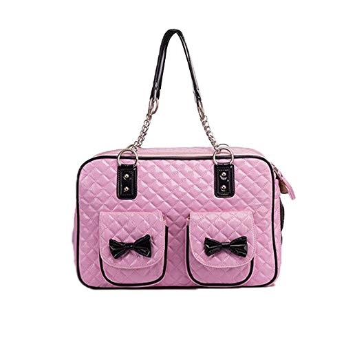 Kaper Go Pet Bag Fashion PU Pressure Plaid Bow Bag Cat Bag Dog Bag Pet Out Carrying Bag Pet Supplies (Color : Red)