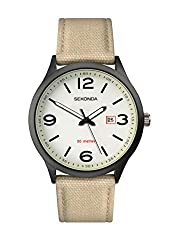 Ionic black plated case White glow dial with date display Beige nylon strap Water resistance to 50 metres 2 year guarantee