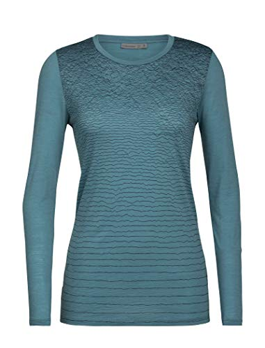 Icebreaker Spector LS Crewe Landscape Lines Merino - Camiseta para Mujer, Unzutreffend, otoño/Invierno, Spector LS Crewe Landscape Lines Merino - Camiseta, Mujer, Color Blue Specte, tamaño Small