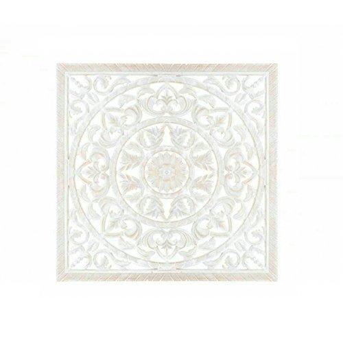 Dcasa - Mural tallado provenzal blanco de madera 50x50 cm