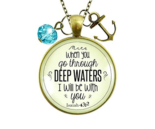 Gutsy Goodness 24' Anchor Necklace Deep Waters Faith Inspired Life Verse Womens Jewelry Gift