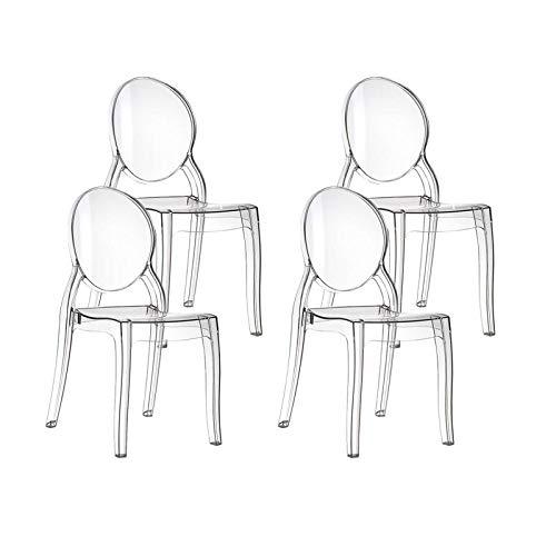 resol set de 4 sillas de diseño Mia para interior, exterior, jardín - color transparente