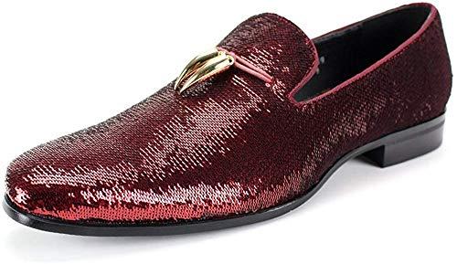 AFTER MIDNIGHT 6759 Smoking Slipper mit glänzenden Pailletten Smoker Loafer mit Metallhörnern Ornament, Rot (rot), 39 EU
