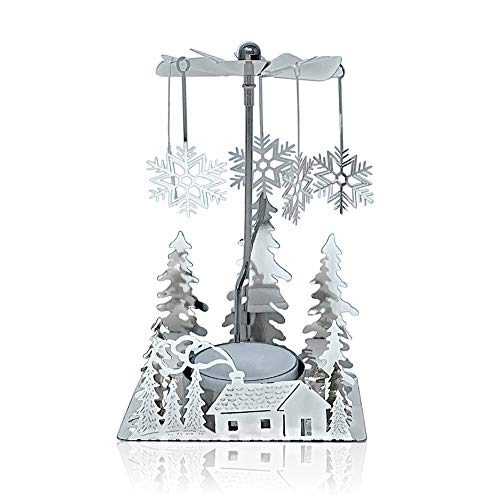 BANBERRY DESIGNS White Snowflake Christmas Candle Holders Tea Light or Votive Holders Holiday Holders Set of 3 White Metal Candle Holders with a Snowflake Cutout