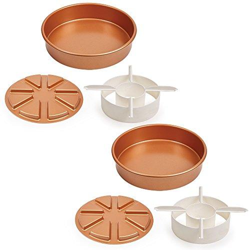 Copper Chef Perfect Cake Pan 3-teiliges Set BOGO (2) 22,9 x 22,9 cm Kuchenform mit 2 magischen Mitteltaschen und 2 magischen Mittelkuchenausstecher