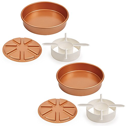 Copper Chef Perfect Cake Pan 3 PC set BOGO- (2) 9 X 9' Cake Pan with 2 Magic Middle Pockets and 2 Magic Middle Cake Cutters