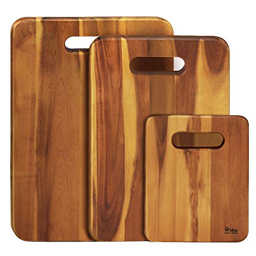 AIDEA Wood Cutting Board- 3-Piece Set Assorted Sizes Kitchen Acacia Wood Chopping Boards for Meat, Vegetables