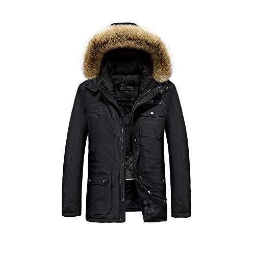 WANPUL Winterparka Herren Winterjacke Warme Parka Jacke Elektrisch Beheizte Jacke USB Elektrische Kohlefaser Heizung Parka Schwarz L