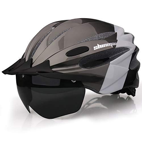 Casco Bcicleta, Shinmax Casco para Bicicleta con luz de Carga Usb y Gafas Magnéticas Desmontables y Visera Solar Extraíble y Bolsa Portátil Casco Ciclismo Ajustable para Adulto Hombre Mujer Montaña Carretera