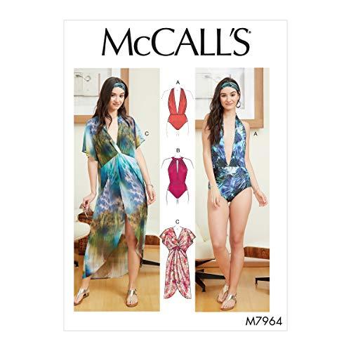 McCall Pattern Company McCall's Damen Einteiler Badeanzug und Cover Up Schnittmuster Größen 36-50, verschiedene Weiß