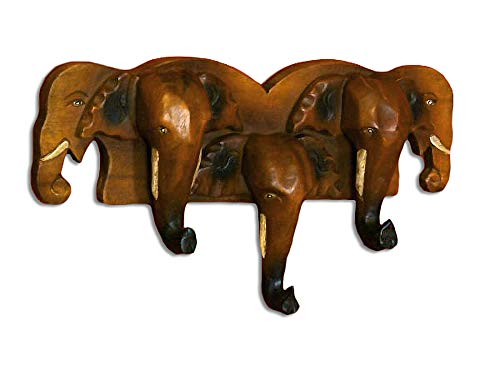 livasia Holzelefanten Garderobe (5Köpfe), Aufhänger BZW. Wandhaken aus Massivholz, Jackenhalter aus Elefantenköpfen