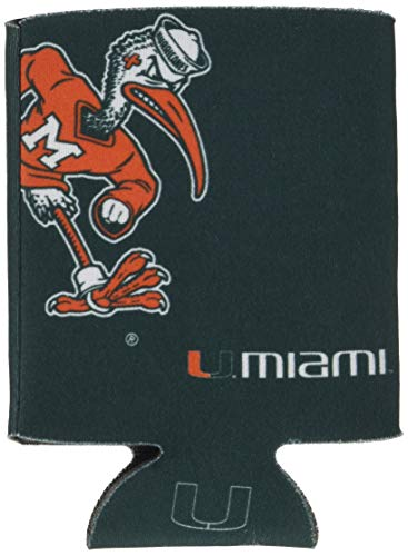 Logo Brands NCAA Miami Hurricanes Flat Coozie, One Size, Team Color
