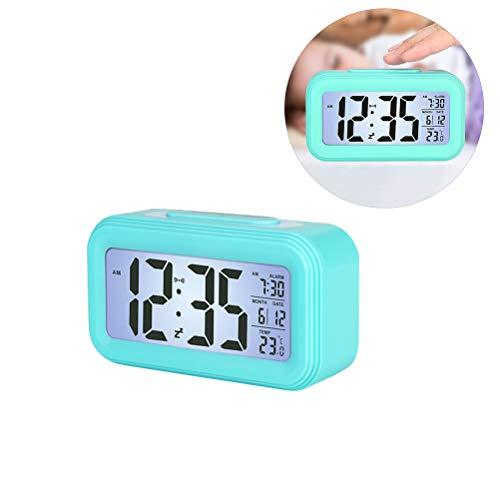Comtervi Digitale led-wekker, reiswekker, digitale klok, luid zonder tikken, grote cijfers, datum, temperatuurweergave, snooze nacht zichtbaar, 12/24, tafelklok, werkt op batterijen