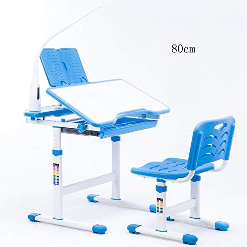 Tafel FEI Kinderbureaustoel Set Hoogte Verstelbare Kids Student School Studie Werkstation met Opslag, Roze, blauw