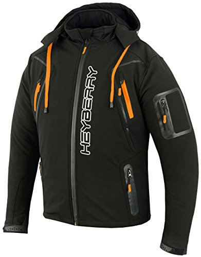 HEYBERRY Soft Shell Motorradjacke Textil Schwarz/Orange Gr. L