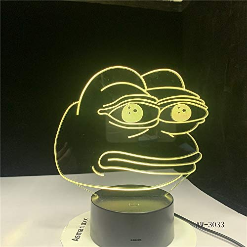 WAGUZA Cartoon Frog Night Lamp 3D Illusion 7 Color Changing Decorative Light Child Kids Girl Gift Desk LED Night Light Bedside