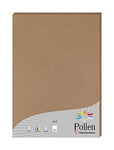 Clairefontaine 29205C Packung mit 25 Blatt Pollen, DIN A4, 210 x 297 mm, 200g, Kraft Natur