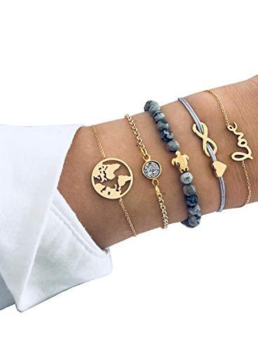 Gewebte Liebe 8 Buchstaben Englische Liebe Weltkarte Schildkröte Grau Perlen Diamant Armband 5-teiliges Set Gr. Einheitsgröße, gold
