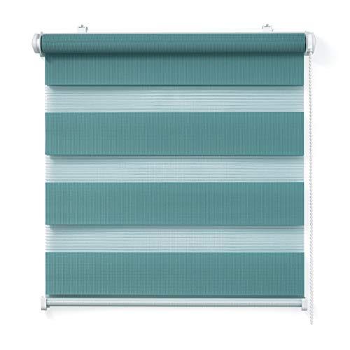 Doppelrollo, Türkis, 80x150cm - Duo-Rollo Klemm Fix mit Klemmträger, Fenster-Rollo/Seitenzug-Rollo Ohne Bohren, lichtdurchlässig und verdunkelnd