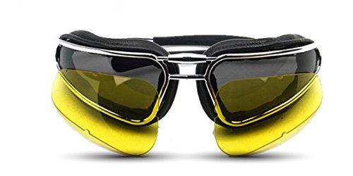EASY RIDER technische zonnebril voor motorfietsen scooters met masserende lederen lagers, verwisselbare lenzen, verstelbare brug, elastische band, perfect onder de helm. Gemaakt in Italië Baruffaldi
