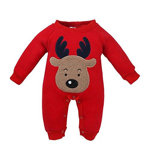 Topgrowth Bambino Natale Romper Ragazzo Ragazza Lungo Manica Pagliaccetto Tuta Carino Cervo Pigiama (Rosso, 12M)